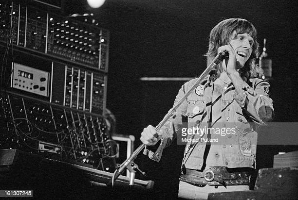 English keyboard player Keith Emerson performing with Emerson Lake Palmer at the Hammersmith Odeon London 26th November 1972