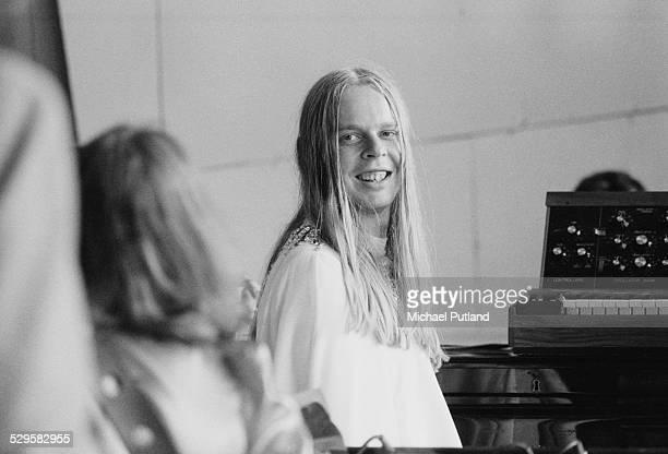 English keyboard player Rick Wakeman at the Crystal Palace Garden Party all day concert event Crystal Palace London 27th July 1974