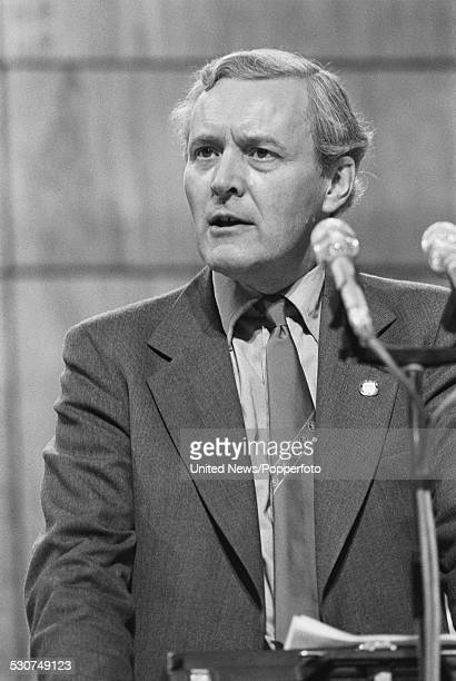 English Labour Party politician and Secretary of State for Energy Tony Benn speaks at the Labour Party Conference in Brighton on 3rd October 1977