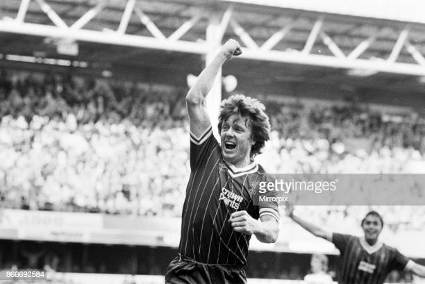 English League Division One match at Loftus Road Queens Park Rangers 0 v Liverpool 1 Liverpool football player Steve Nicol celebrates after scoring...