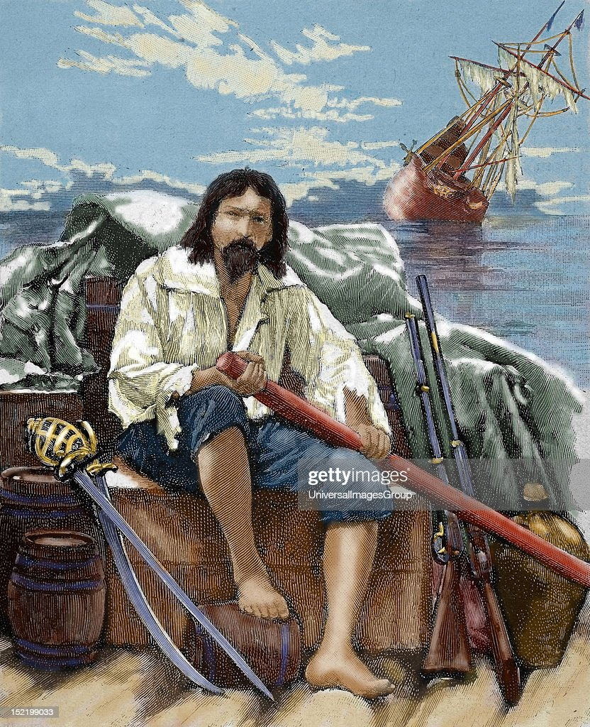 English literature 17th century Defoe Daniel English novelist Robinson Crusoe rescuing of the boat all what could be before of its sinking Colored...