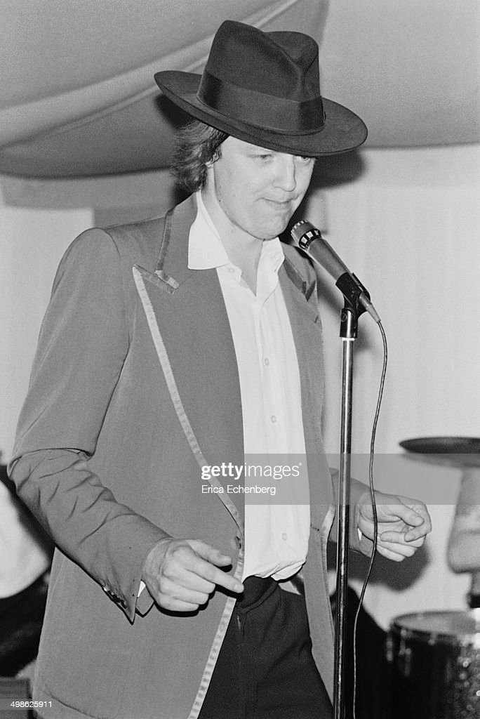 English lyricist Tim Rice singing with his band at a private party London 23rd April 1975