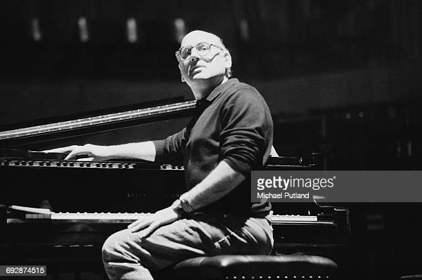 English minimalist composer Michael Nyman at a piano at the Royal Festival Hall London 1992 He is rehearsing a performance of 'The Michael Nyman...