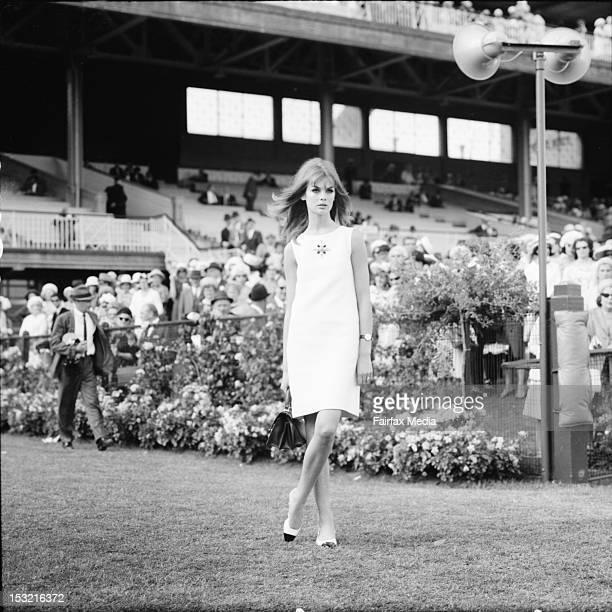 English model Jean Shrimpton attends Derby Day at Flemington Racecourse in Melbourne October 30 1965