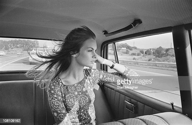 English model Jean Shrimpton in the back of a car UK 12th July 1966