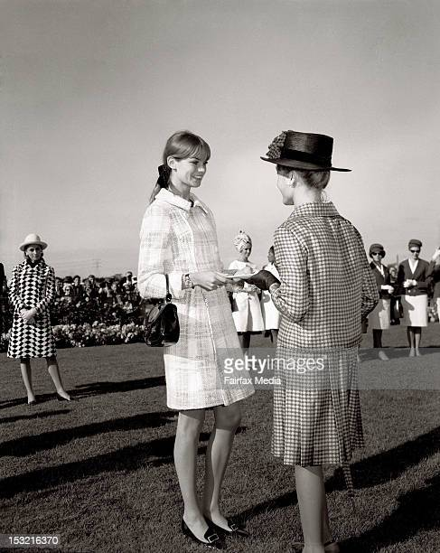 English model Jean Shrimpton with some of the women competing in Fashions on the Field as part of the Spring Racing Carnival at Flemington Racecourse...