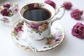 English tea cup morning time rose