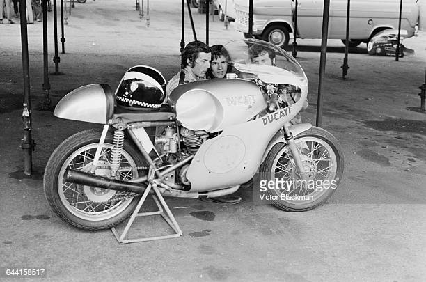 English motorcycle road racer Phil Read with the new Ducati racing bike during practise at Brands Hatch UK 17th June 1971