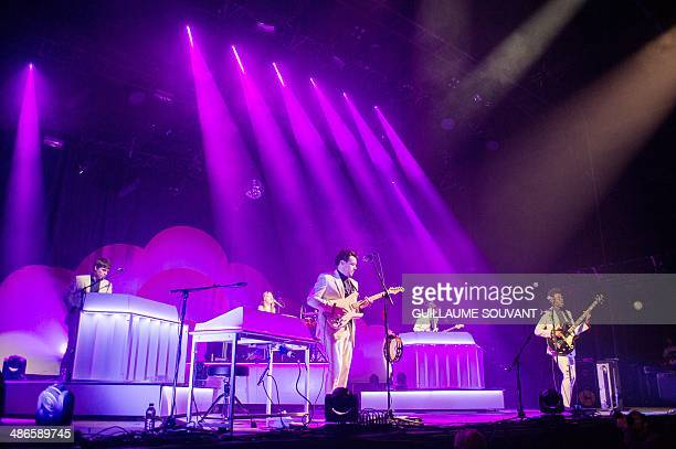 English music group Metronomy band members perform on stage at the 38th edition of 'Le Printemps de Bourges' rock and pop festival in the French city...