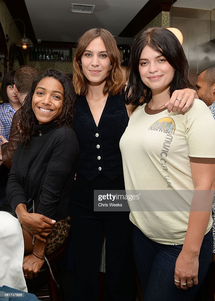 English music recording artist Remy Nicole, Alexa Chung and Pixie Geldof attend a dinner celebrating the launch of Alexa Chung X AG PA at Petit Trois on July 23, 2015 in Los Angeles, California.