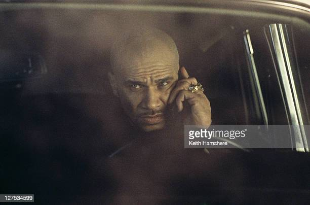 English musician and actor Goldie as the henchman Mr Bullion in a scene from the James Bond film 'The World Is Not Enough' 1999