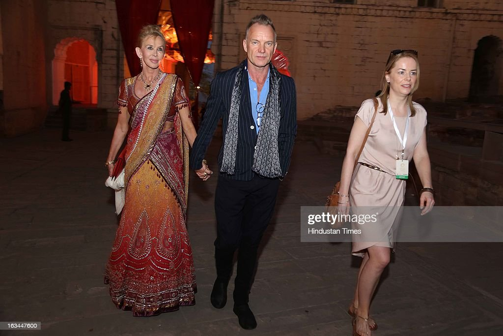 English musician and guitarist Sting with wife Trudie Styler at the party hosted by his Highness Gaj Singh II at the Mehrangarh Fort on March 8, 2013 in Jodhpur, India.