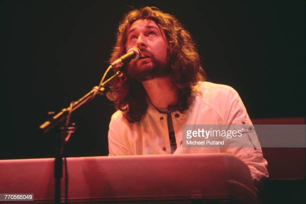 English musician and keyboard player Roger Hodgson performs live on stage with Supertramp on tour in the United States in June 1979