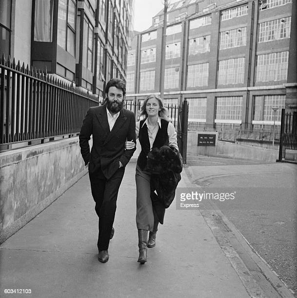 English musician and singer Paul McCartney of the Beatles and his wife Linda outside the Royal Courts of Justice in London UK 19th February 1971...