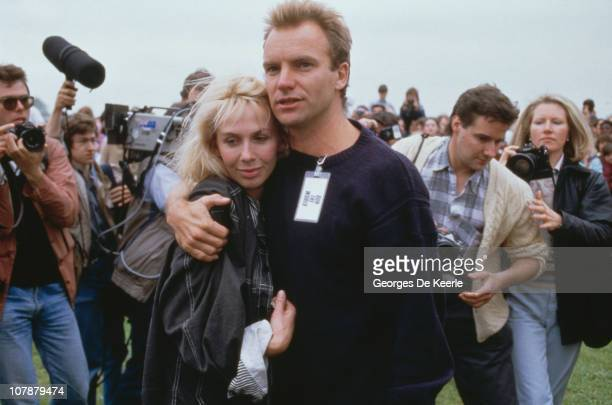 English musician and singer Sting and his wife Trudie Styler take part in Sport Aid in London 25th May 1986 Sport Aid raised money for famine relief...