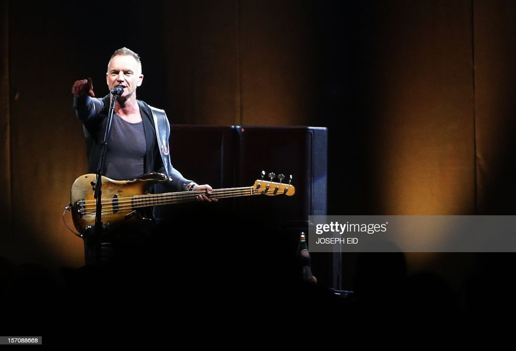 English musician and singer-songwriter Gordon Sumner known by his stage name Sting, performs during a concert in Beirut, on November 28, 2012.