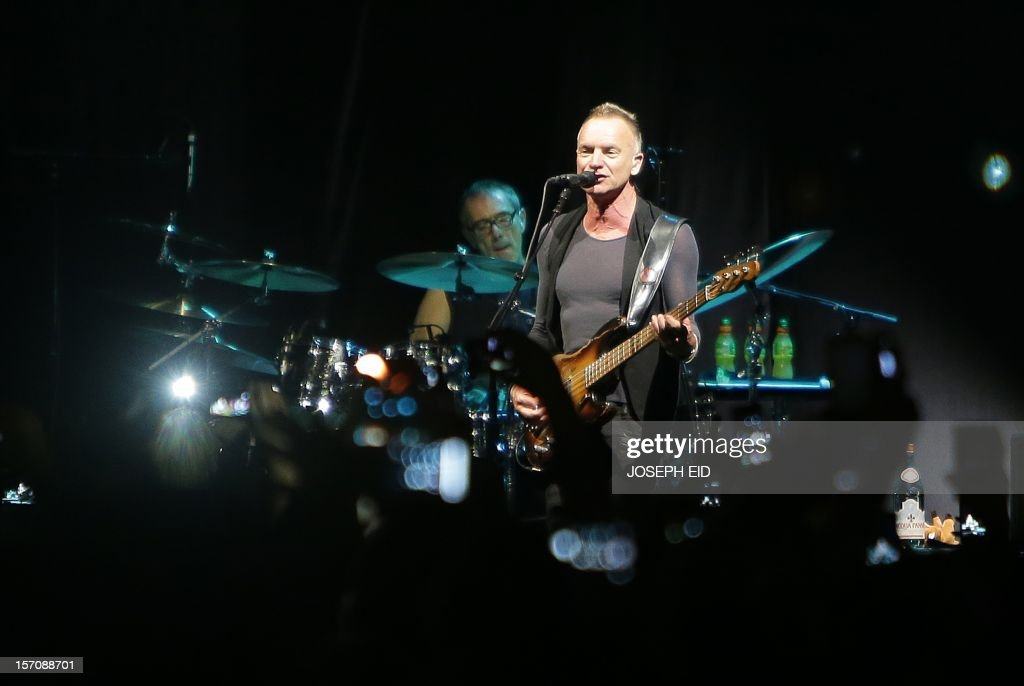 English musician and singer-songwriter Gordon Sumner known by his stage name Sting, performs during a concert in Beirut, on November 28, 2012. AFP PHOTO/JOSEPH EID