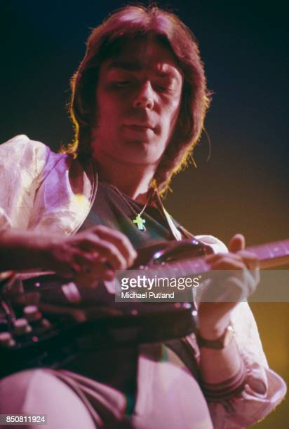 English musician and songwriter Steve Hackett of rock group Genesis performs on stage 1976