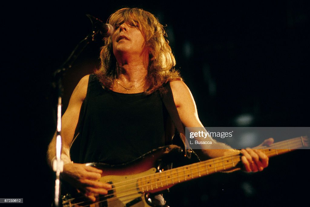 Musician Cliff Williams of AC/DC performs at the Nassau Coliseum on September 20, 1986 in Uniondale, New York.