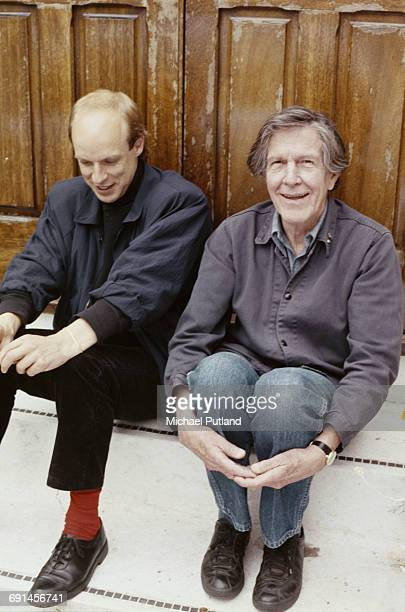 English musician composer and record producer Brian Eno with American avantgarde composer and writer John Cage May 1985