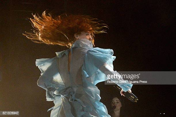 English musician Florence Welch leads the Florence The Machine in concert at Unipol Arena on April 13 2016 in Bologna Italy