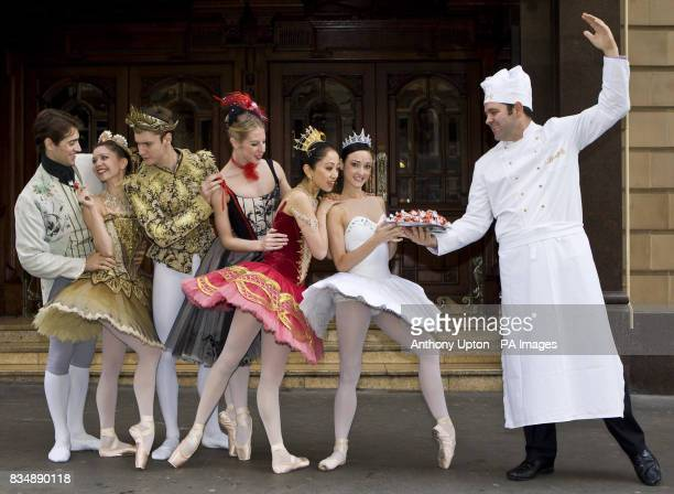 English National Ballet dancers with the Lindt Chocolatier outside the London Coliseum Covent Garden London