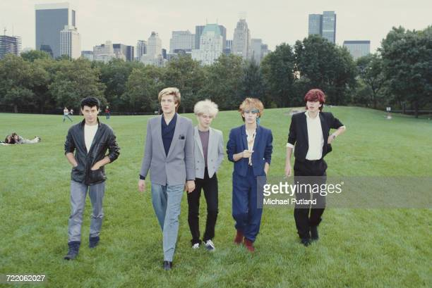 English new romantic group Duran Duran in Central Park New York in 1981 Left to right drummer Roger Taylor singer Simon Le Bon guitarist Andy Taylor...