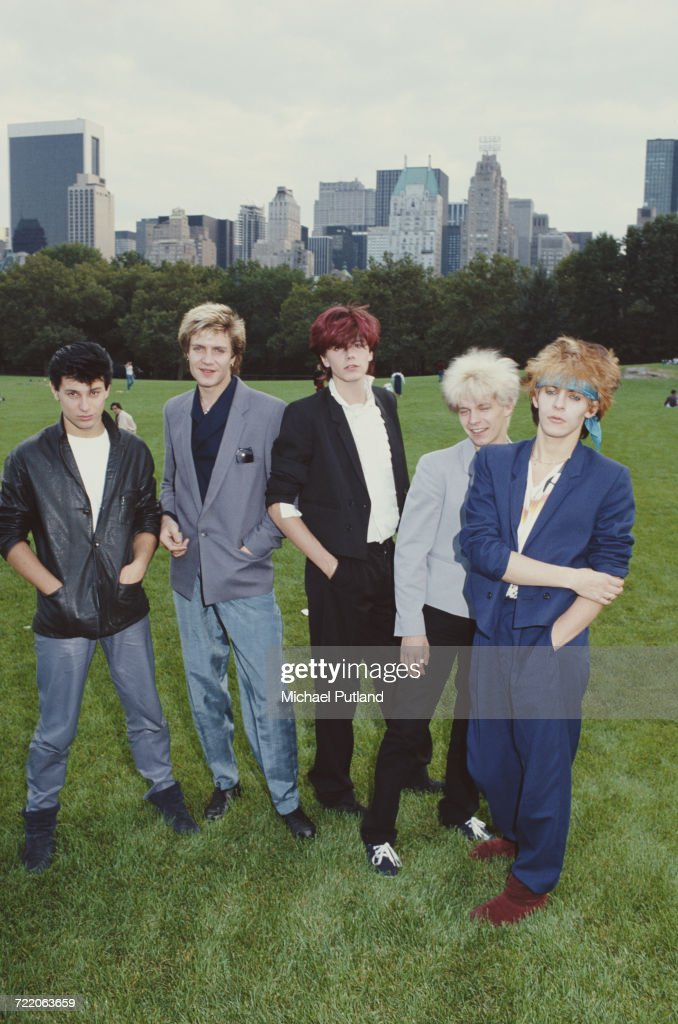 English new romantic group Duran Duran in Central Park, New York in 1981. Left to right: drummer Roger Taylor, singer Simon Le Bon, bassist John Taylor, guitarist Andy Taylor and keyboard player Nick Rhodes.