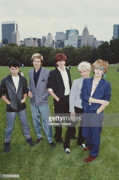 English new romantic group Duran Duran in Central Park New York in 1981 Left to right drummer Roger Taylor singer Simon Le Bon bassist John Taylor...