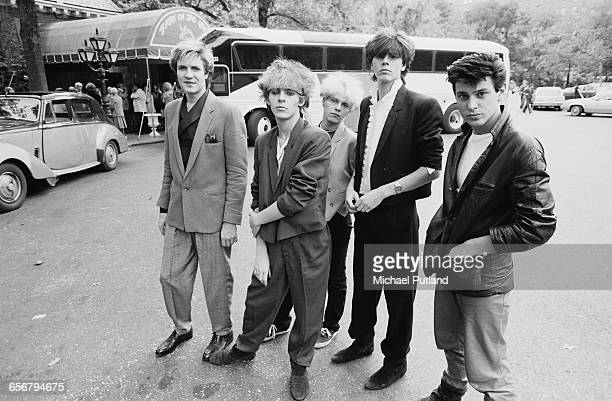 English new romantic group Duran Duran in New York 1981 Left to right singer Simon Le Bon keyboard player Nick Rhodes guitarist Andy Taylor bassist...