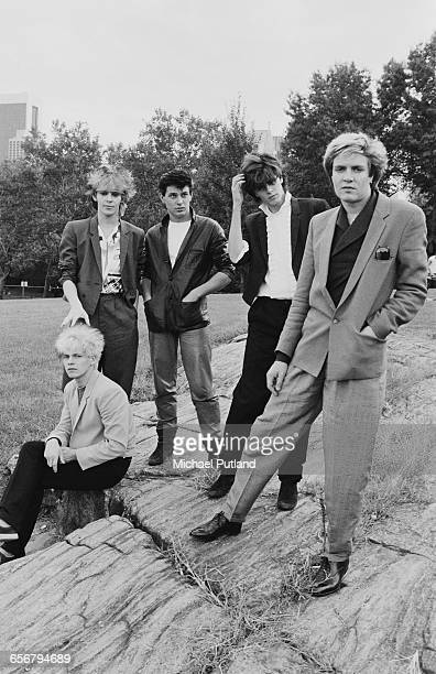 English new romantic group Duran Duran in New York 1981 Left to right guitarist Andy Taylor keyboard player Nick Rhodes drummer Roger Taylor bassist...