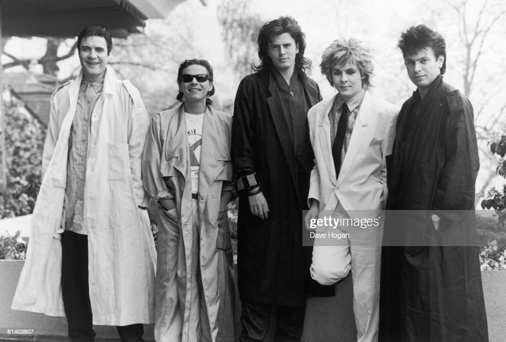 English new romantic pop group Duran Duran at the Montreux pop festival, Switzerland, 15th May 1985. Left to right: Simon Le Bon, Andy Taylor, John Taylor, Nick Rhodes, and Roger Taylor.