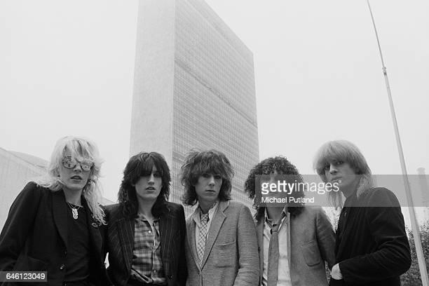 English new wave group Japan New York September 1979 Left to right singer David Sylvian drummer Steve Jansen keyboard player Richard Barbieri...