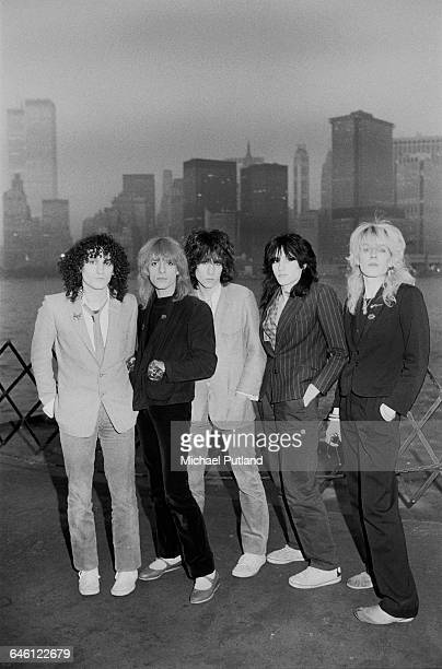 English new wave group Japan on a waterfront in New York September 1979 In the background are the twin towers of the World Trade Center Left to right...