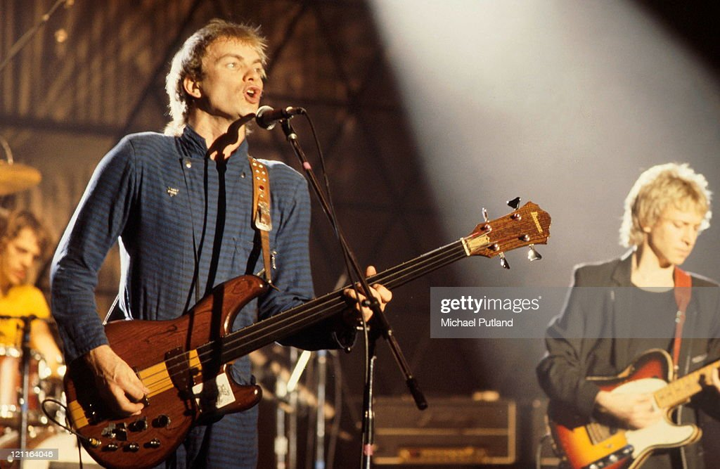 English new wave group The Police performing on the 'Don Kirshner's Rock Concert' TV show, Los Angeles, 6th February 1980. Left to right: Stewart Copeland (drums), <a gi-track='captionPersonalityLinkClicked' href=/galleries/search?phrase=Sting+-+Singer&family=editorial&specificpeople=220192 ng-click='$event.stopPropagation()'>Sting</a> and <a gi-track='captionPersonalityLinkClicked' href=/galleries/search?phrase=Andy+Summers&family=editorial&specificpeople=789834 ng-click='$event.stopPropagation()'>Andy Summers</a>.