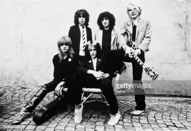 English new wave rock band Japan circa 1977 From left to right Mick Karn Rich Barbieri Steve Jansen Rob Dean David Sylvian