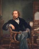 English novelist Charles Dickens at his writing desk