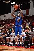 English of the Golden State Warriors shoots against the Dallas Mavericks during the 2016 NBA Las Vegas Summer League game on July 15 2016 at the Cox...
