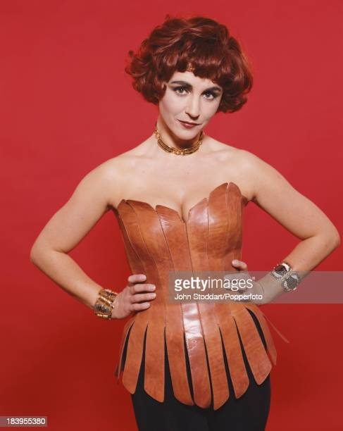 English opera singer Lesley Garrett wearing a leather bodice 1992
