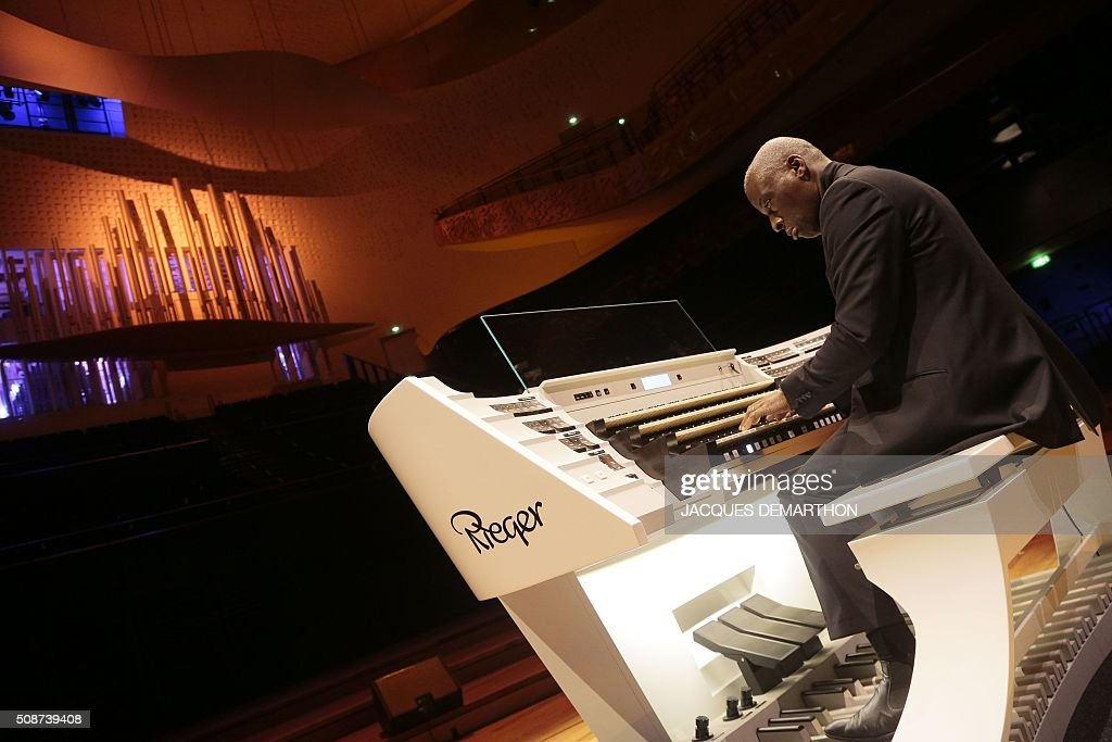 English organist Wayne Marshall plays during the inauguration of the new organ at 'La Philarmonie de Paris' on February 6, 2016. The 'Philarmonie de Paris' organises during the February 6 and 7 weekend concerts, cine-concert, visits, workshops dedicated to its new organ conceived by French musician and organist builder Michel Garnier for Austrian firm Rieger. / AFP / JACQUES DEMARTHON