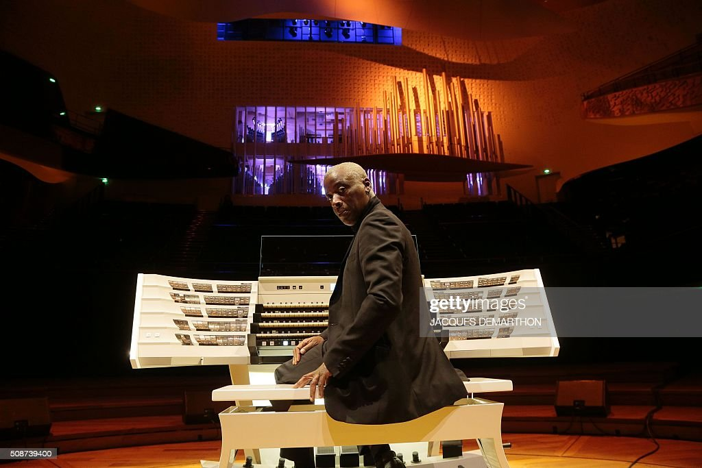 English organist Wayne Marshall poses during the inauguration of the new organ at 'La Philarmonie de Paris' on February 6, 2016. The 'Philarmonie de Paris' organises during the February 6 and 7 weekend concerts, cine-concert, visits, workshops dedicated to its new organ conceived by French musician and organist builder Michel Garnier for Austrian firm Rieger. / AFP / JACQUES DEMARTHON