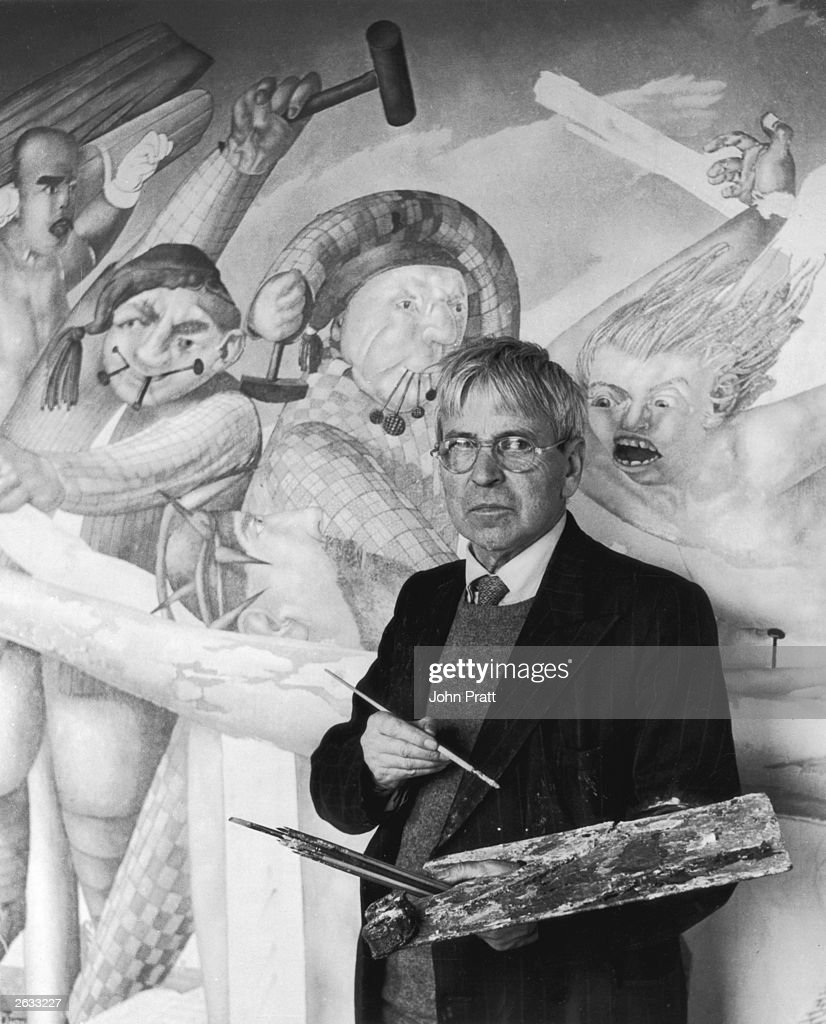 English painter Sir Stanley Spencer (1891 - 1959) in front of his altarpiece 'The Crucifixion' (for Aldenham School Chapel) in Cookham, which is nearing completion. Original Publication: People Disc - HL0291