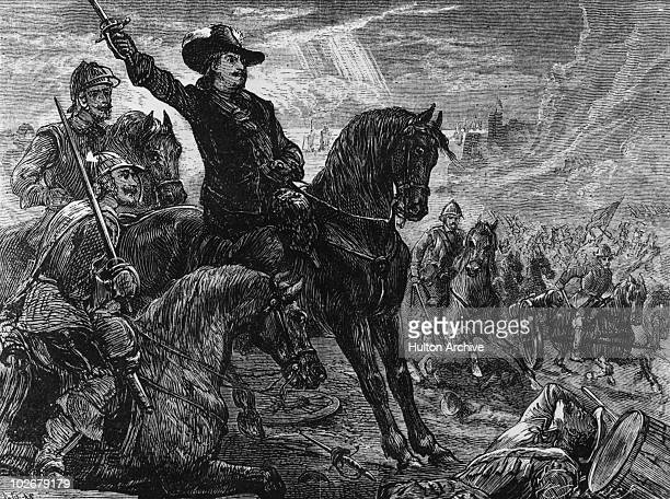 English Parliamentarian leader Oliver Cromwell at the Battle of Dunbar Scotland during the Third English Civil War 3rd September 1650 The battle...