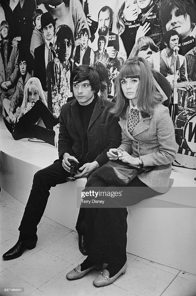 English photographer <a gi-track='captionPersonalityLinkClicked' href=/galleries/search?phrase=David+Bailey+-+Photographer&family=editorial&specificpeople=216323 ng-click='$event.stopPropagation()'>David Bailey</a> with English model and actress Chrissie Shrimpton at Madame Tussauds, London, 21st March 1967.