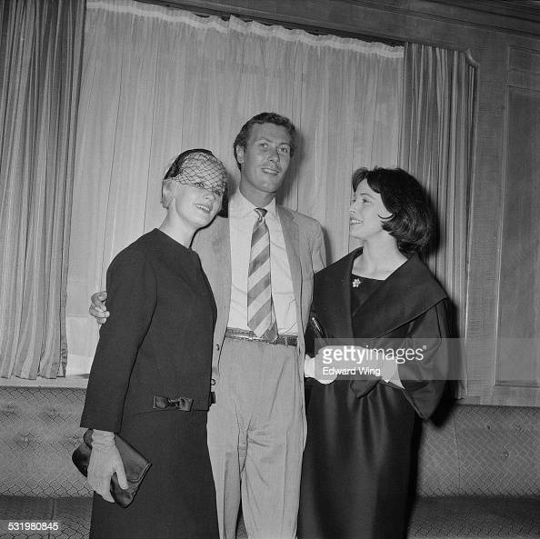 English playwright screenwriter and actor John Osborne Scottish stage and film actress Mary Ure and English actress Claire Bloom attend a reception...