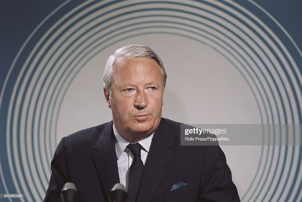 English politician and leader of the Conservative Party Edward Heath conducts a press conference at Central Hall in Westminster London during the...