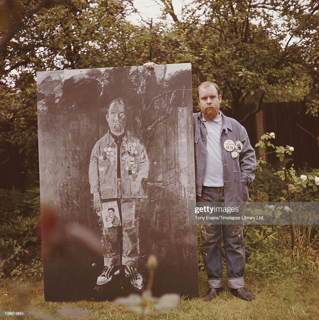 British 'pop' artist Sir <a gi-track='captionPersonalityLinkClicked' href=/galleries/search?phrase=Peter+Blake&family=editorial&specificpeople=239082 ng-click='$event.stopPropagation()'>Peter Blake</a> standing in his garden of his home in Chiswick, 1963.