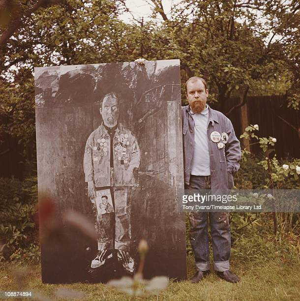 British 'pop' artist Sir Peter Blake standing in his garden of his home in Chiswick 1963