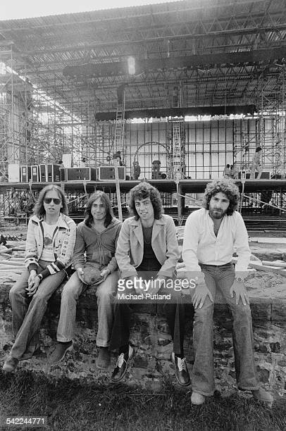 English pop group 10cc at Cardiff Castle for an open air concert at which they top the bill Cardiff Wales 12th July 1975 Left to right Eric Stewart...