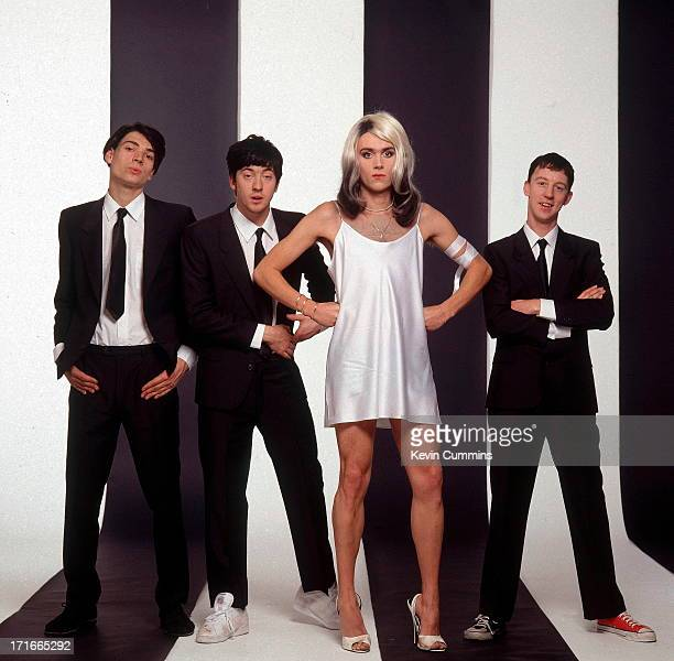 English pop group Blur pose in a parody of the cover of Blondie's 'Parallel Lines' album cover December 1991 Left to right bassist Alex James...